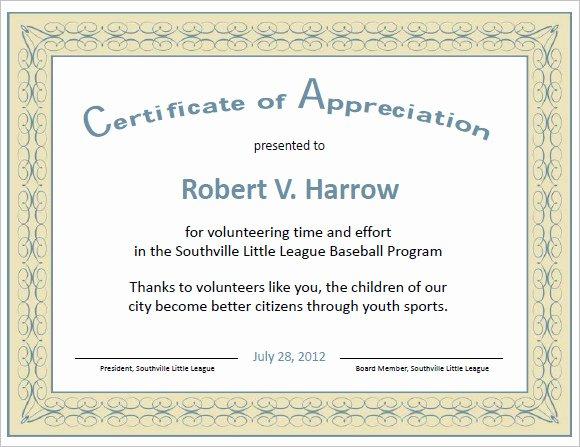 Volunteer Certificate Of Appreciation Templates Unique 9 Certificate Of Appreciation Templates – Free Samples