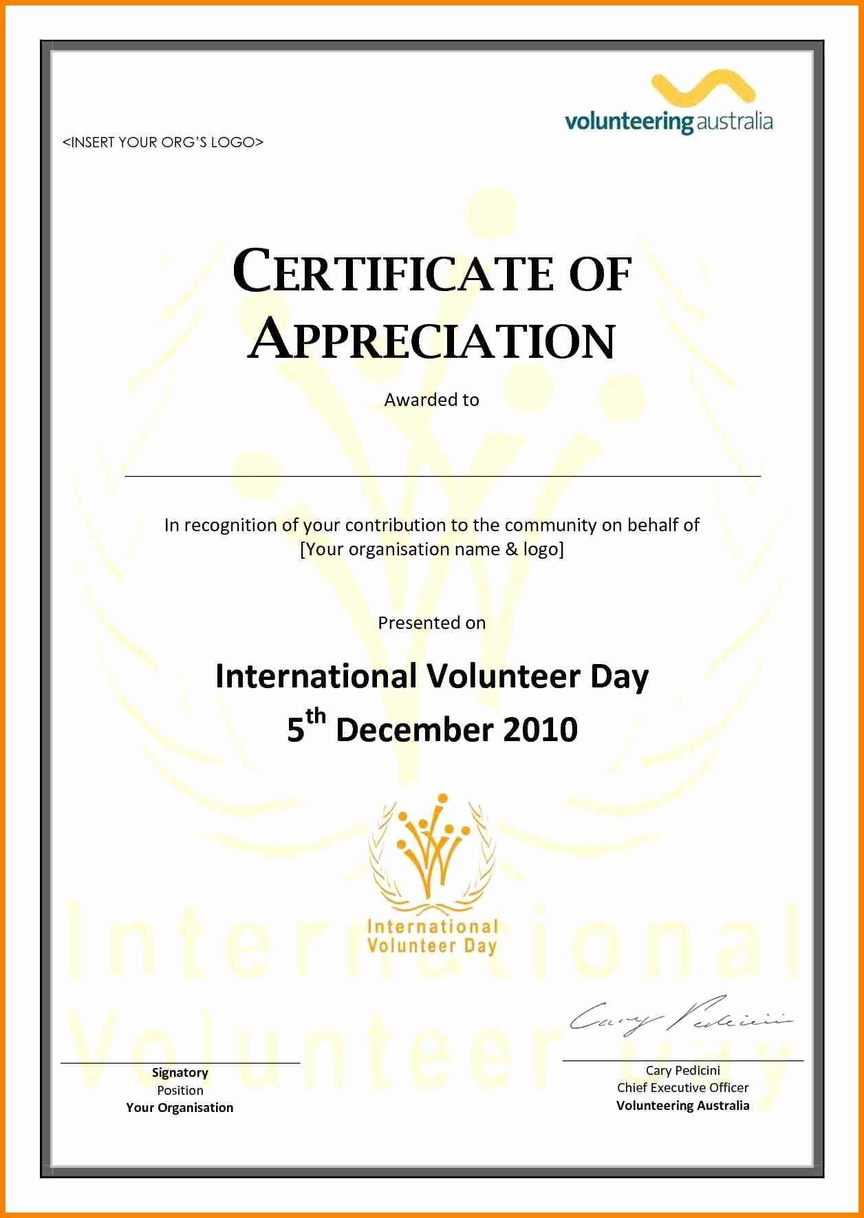 Volunteer Certificate Of Appreciation Templates Unique Volunteer Appreciation Certificate Template