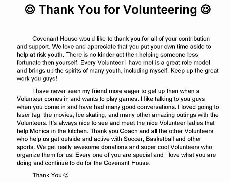 Volunteer Thank You Letters Elegant Our Youth and Staff Thank Our Volunteers Covenant House