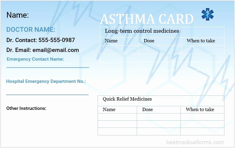 Wallet Card Template Word Lovely asthma Wallet Card Template