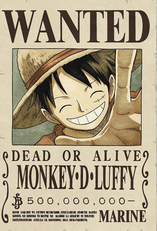 Wanted Poster One Piece Awesome Wanted Monkey D Luffy E Piece Pinterest