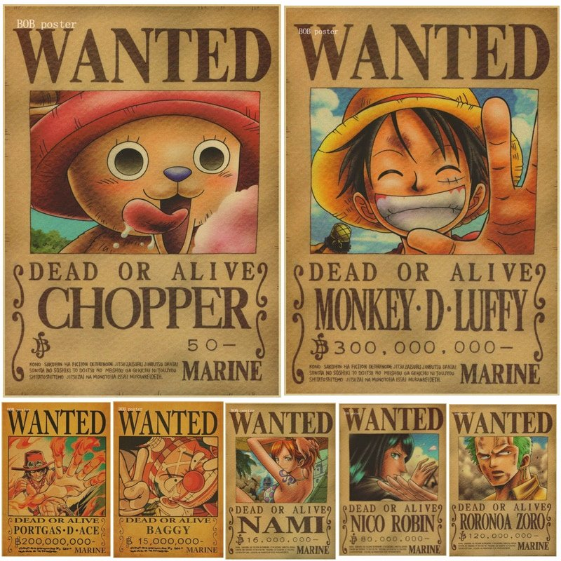 Wanted Poster One Piece Beautiful 1 Pcs Home Decor Wall Stickers Vintage Paper Anime Poster