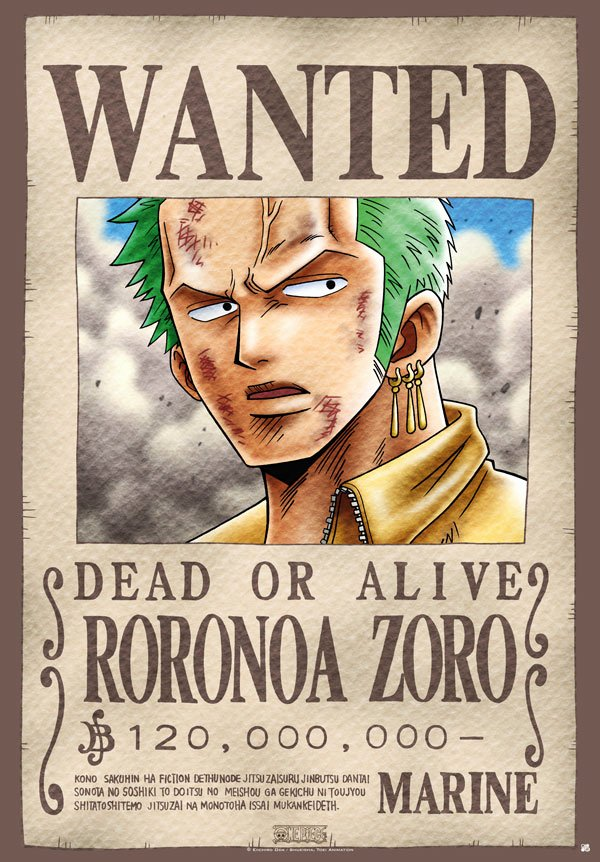"Wanted Poster One Piece Beautiful E Piece Póster ""wanted Zoro"" 98 X 68 Cm"