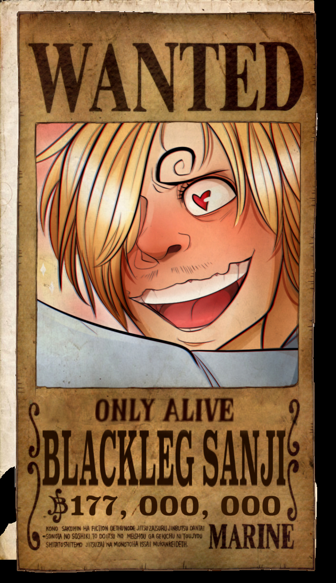 Wanted Poster One Piece Fresh Sanji Wanted Poster by Planarshift On Deviantart