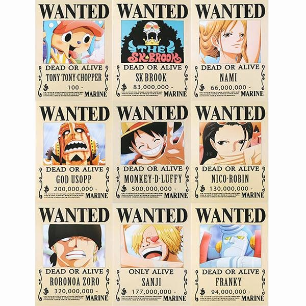 Wanted Poster One Piece Lovely Set Of E Piece Wanted Posters – Kill Ping Line Store