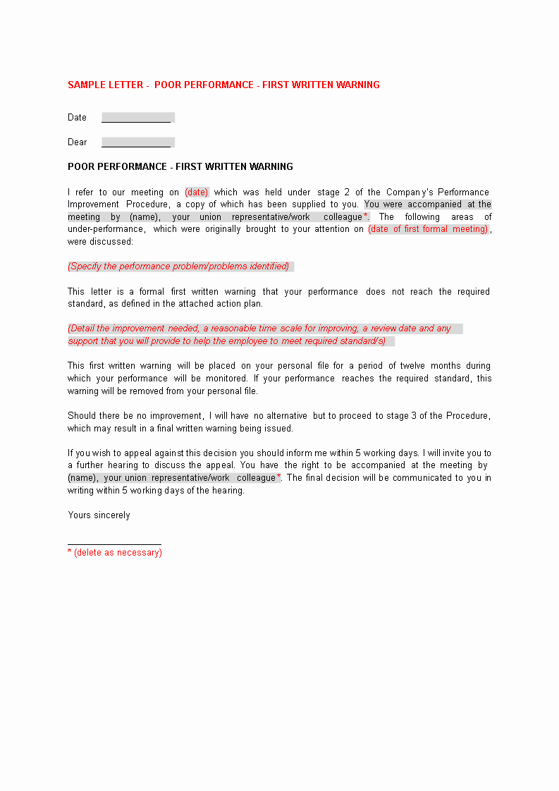 Warning Letter for Unsatisfactory Performance Awesome First Warning Letter for Poor Performance