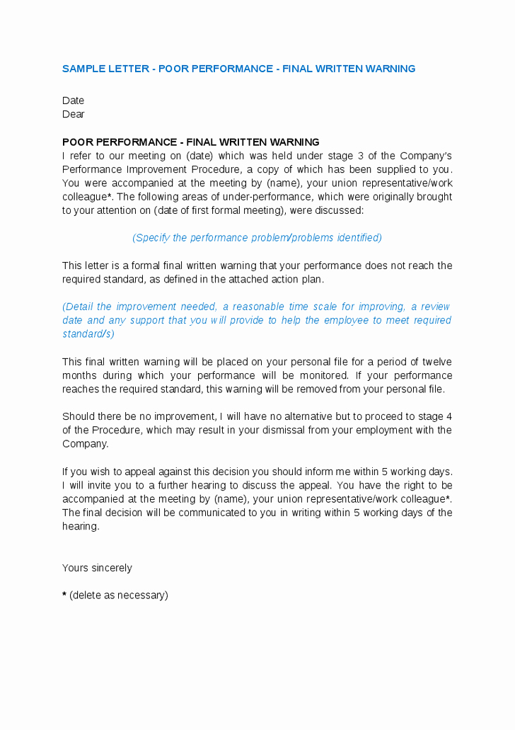 Warning Letter for Unsatisfactory Performance Awesome How to Writing A Warning Letter for Poor Employee Performance
