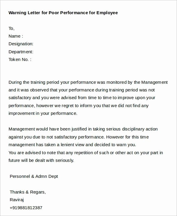 Warning Letter for Unsatisfactory Performance Beautiful Sample Reprimand Letter for Poor Performance