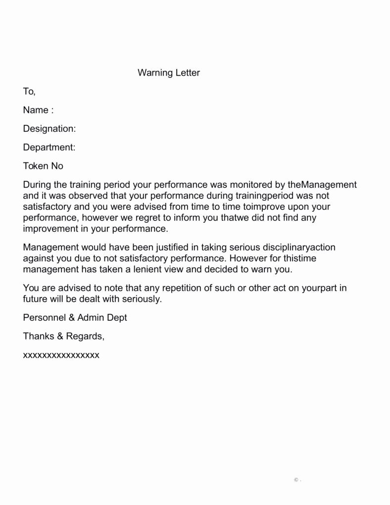 Warning Letter for Unsatisfactory Performance Elegant Warning Letter for Unsatisfactory Performance