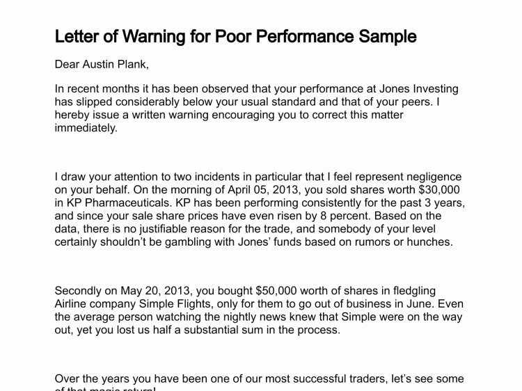 Warning Letter for Unsatisfactory Performance Unique Template Warning Letter Employee Poor Performance