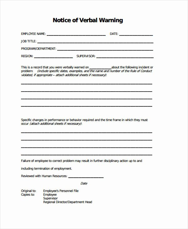 Warning Sheets for Employees Awesome 7 Warning Notice Templates Google Docs Ms Word Apple