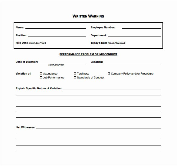 Warning Sheets for Employees Beautiful 11 Written Warning Templates Pdf
