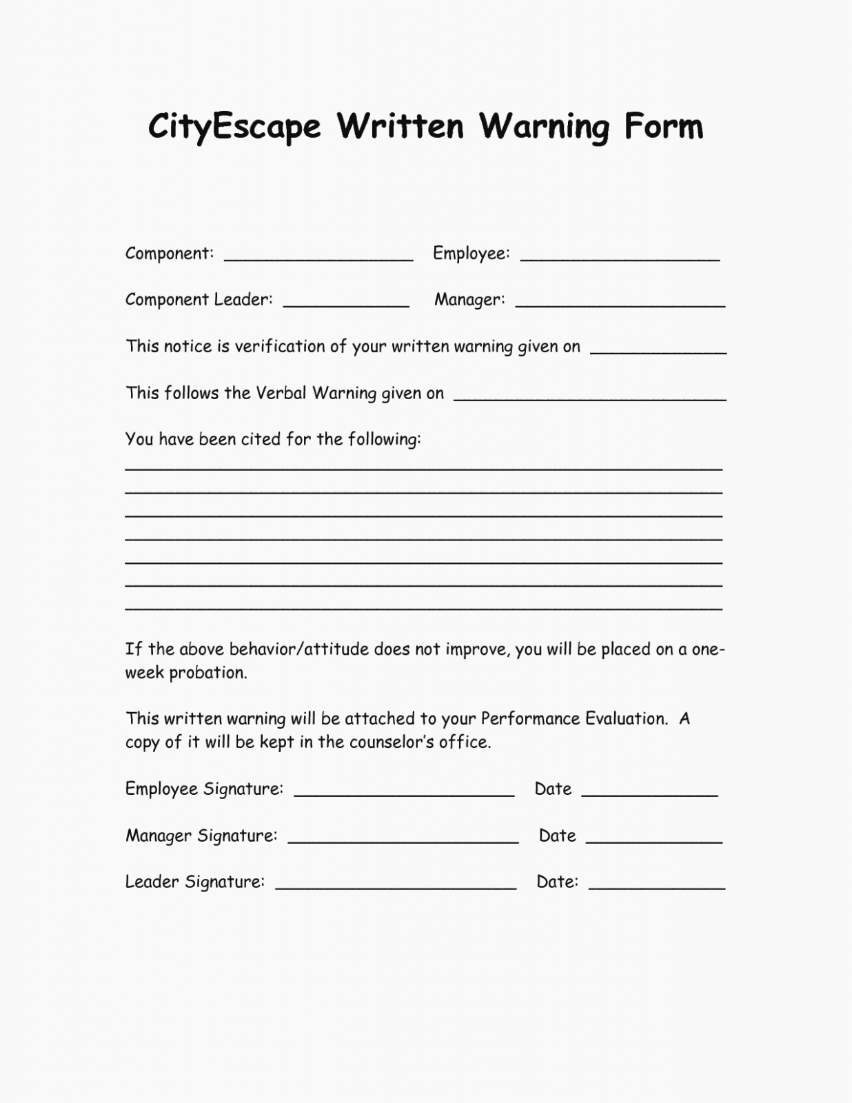 Warning Sheets for Employees Beautiful 14 Ways Employee Written