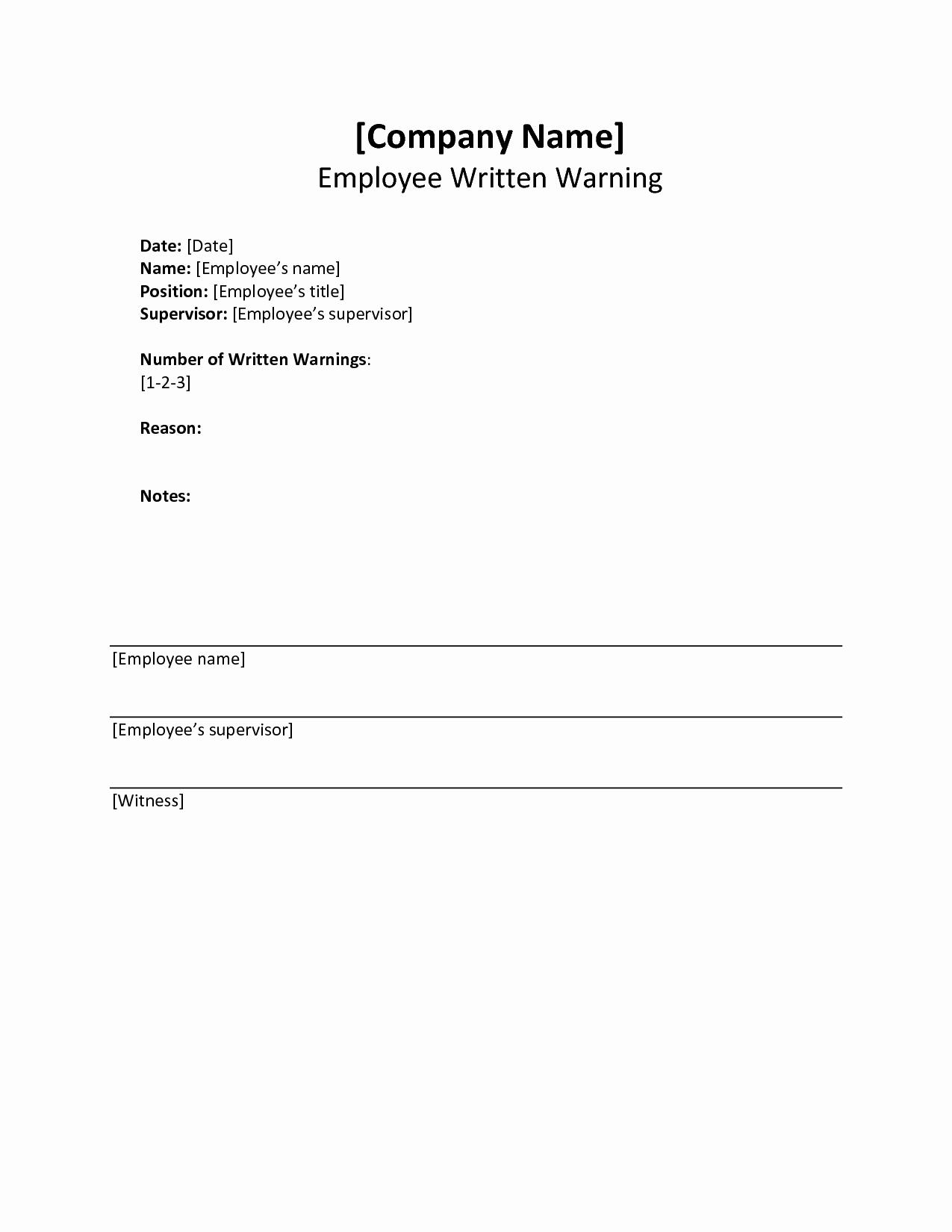 Warning Sheets for Employees Elegant Written Warning Template