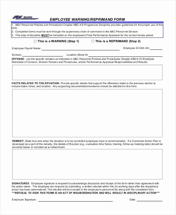 Warning Sheets for Employees Fresh Free 9 Sample Employee Warning forms In Pdf