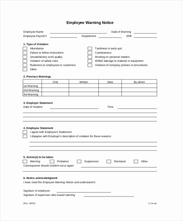 Warning Sheets for Employees Luxury Employee Warning Notice – Business form Letter Template