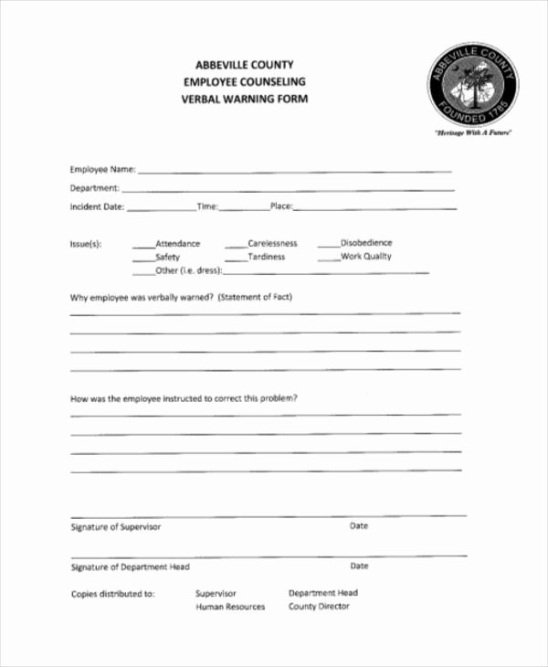 Warning Sheets for Employees Luxury Free 9 Sample Employee Warning forms In Pdf
