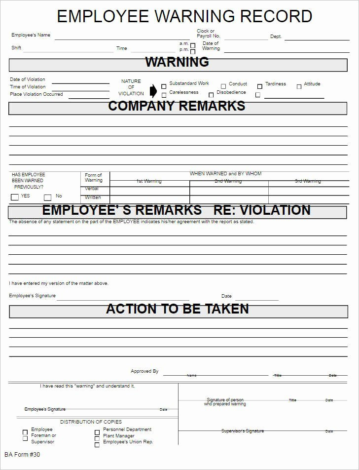Warning Sheets for Employees New 9 10 Disciplinary Report format