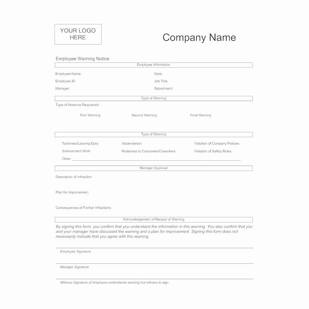 Warning Sheets for Employees Unique Employee Warning form