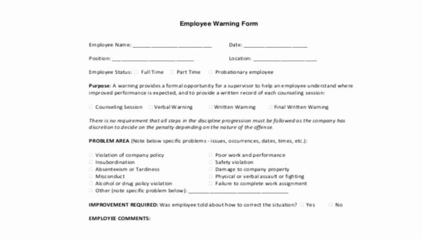 Warning Sheets for Employees Unique Sample Employee Warning forms 9 Free Documents In Word Pdf