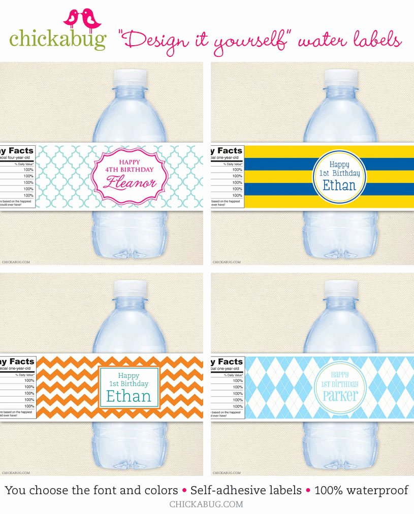 Water Bottle Template Free Luxury Custom Water Bottle Labels to Match Any Party theme