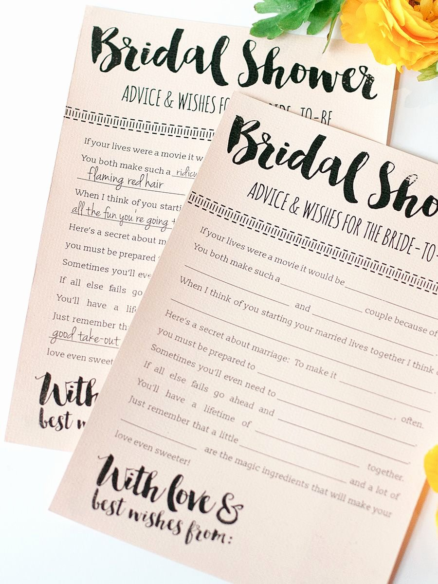 Wedding Advice Cards Funny Best Of 10 Printable Bridal Shower Games to Diy