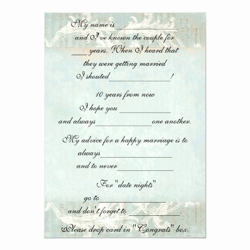 Wedding Advice Cards Funny Elegant Cute Funny Marriage Advice for Bride & Groom 5x7 Paper