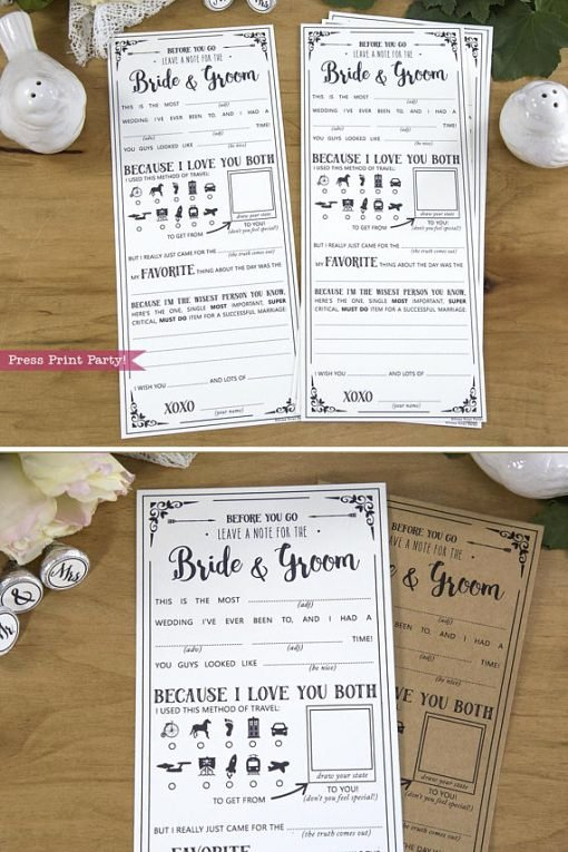 Wedding Advice Cards Funny Elegant Wedding Reception Games Mad Libs Printables Press Print