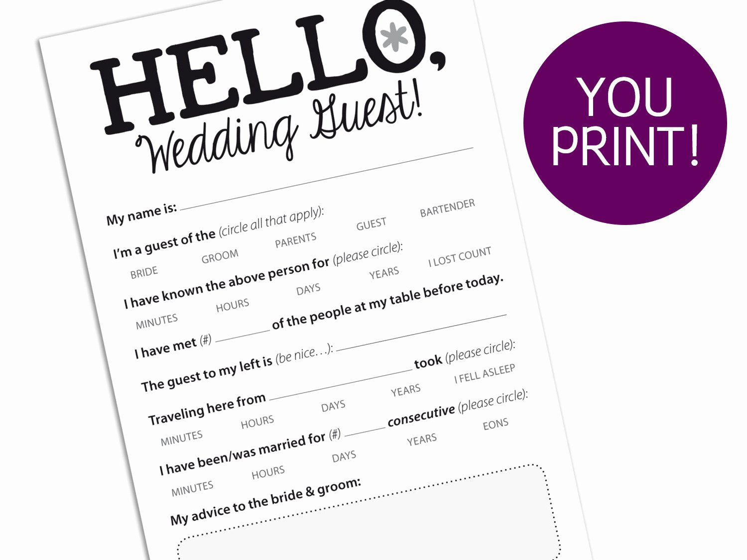 Wedding Advice Cards Funny Fresh Funny Marriage Advice Card for Wedding Reception Printable