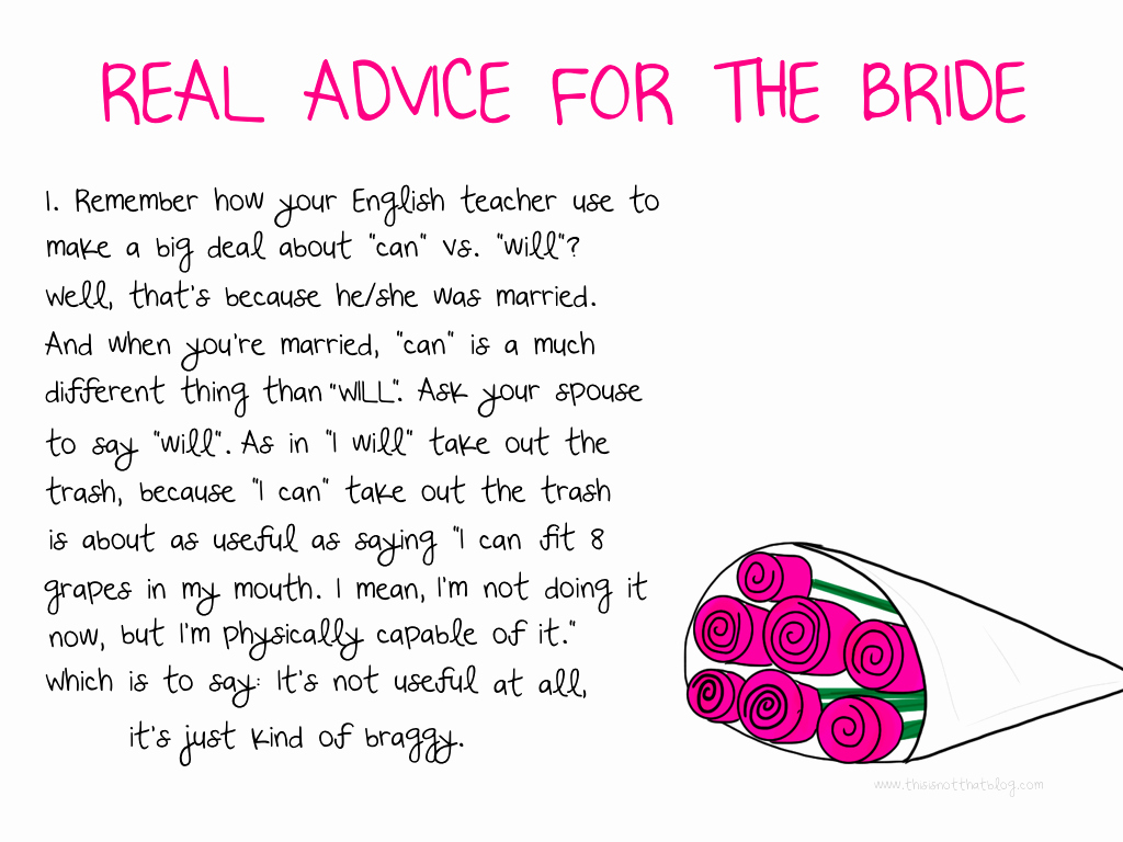 Wedding Advice Cards Funny Lovely Advice for the Bride