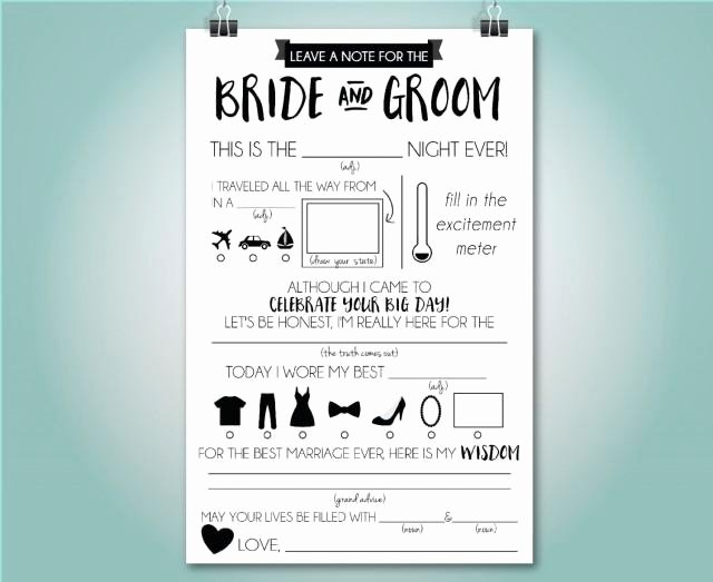 Wedding Advice Cards Funny New Wedding Mad Libs Wedding Advice Card Fill In the Blank