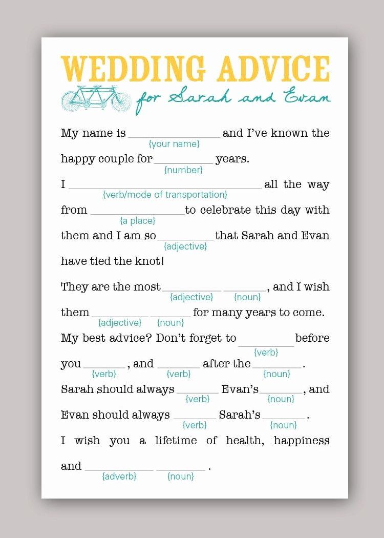 Wedding Advice Cards Funny Unique Diy Printable Wedding Mad Libs Wedding Advice Love the