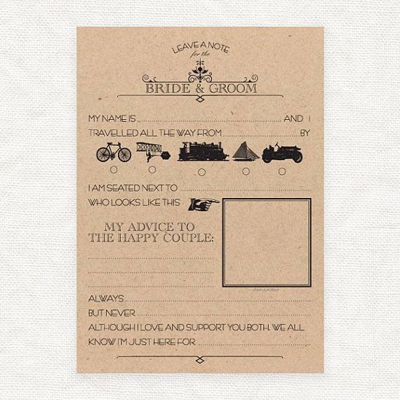 Wedding Advice Cards Funny Unique Leave A Note for the Bride and Groom Printable Template
