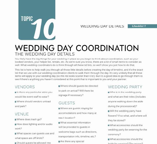 Wedding Day Checklist Printable Beautiful Wedding Day Details Checklist