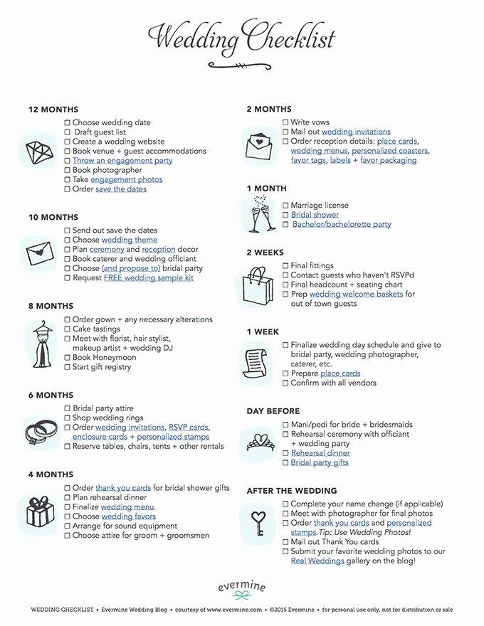 Wedding Day Checklist Printable Elegant Free Printable Wedding Checklist Wedding Inspiration