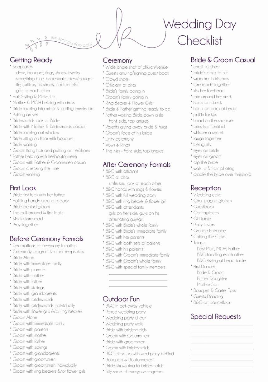 Wedding Day Checklist Printable Lovely Wedding Day Checklist Erin Kata Graphy
