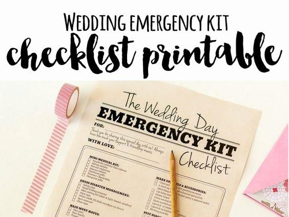 Wedding Day Checklist Printable Unique Wedding Day Emergency Kit Checklist Free Printable