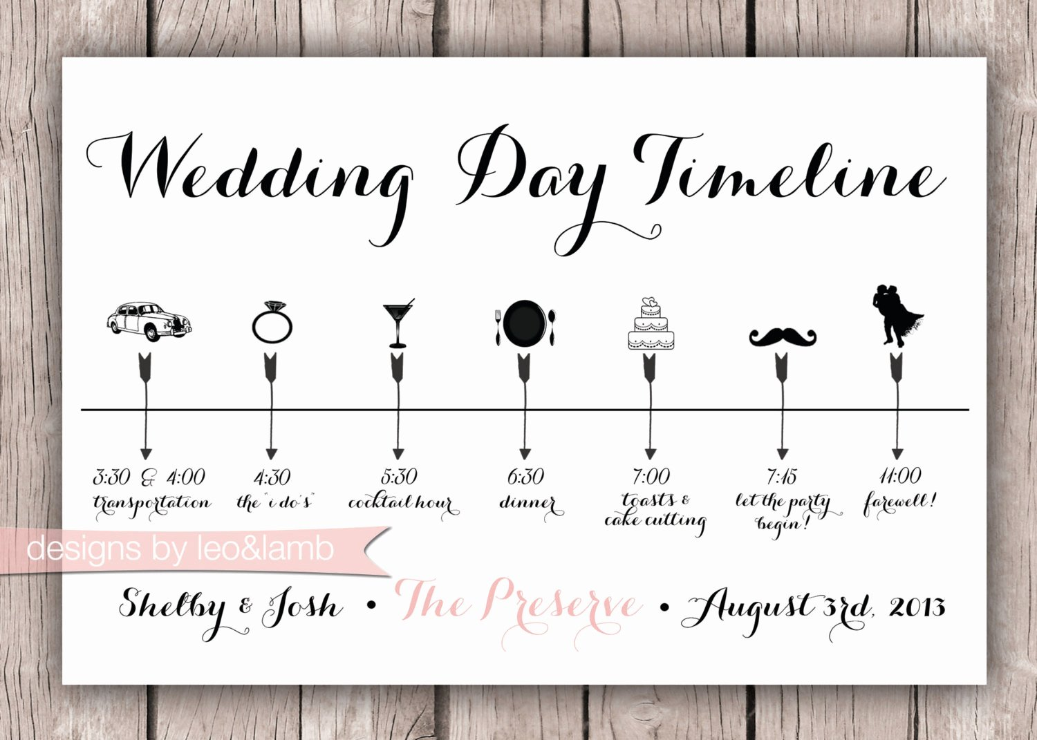 Wedding Day Timeline Printable Best Of Custom Wedding Timeline 5x7 Digital File