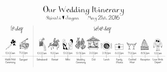 Wedding Day Timeline Printable Elegant Indian Wedding Timeline Printable Digital File Schedule