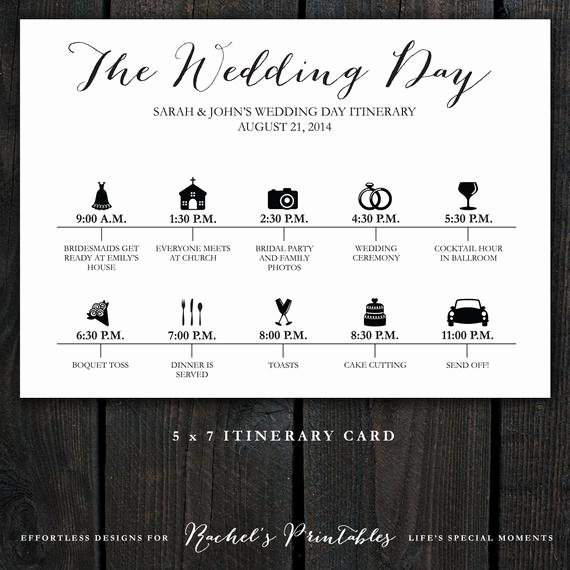 Wedding Day Timeline Printable Inspirational Printable Wedding Timeline Day Itinerary by