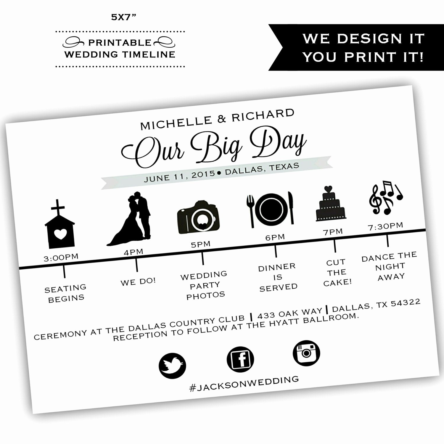 Wedding Day Timeline Printable Unique Printable Wedding Timeline Printable by Classyprints Line