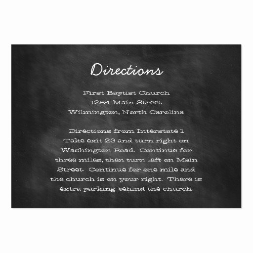Wedding Direction Card Template Awesome Chalkboard Wedding Directions Insert Cards Business Cards
