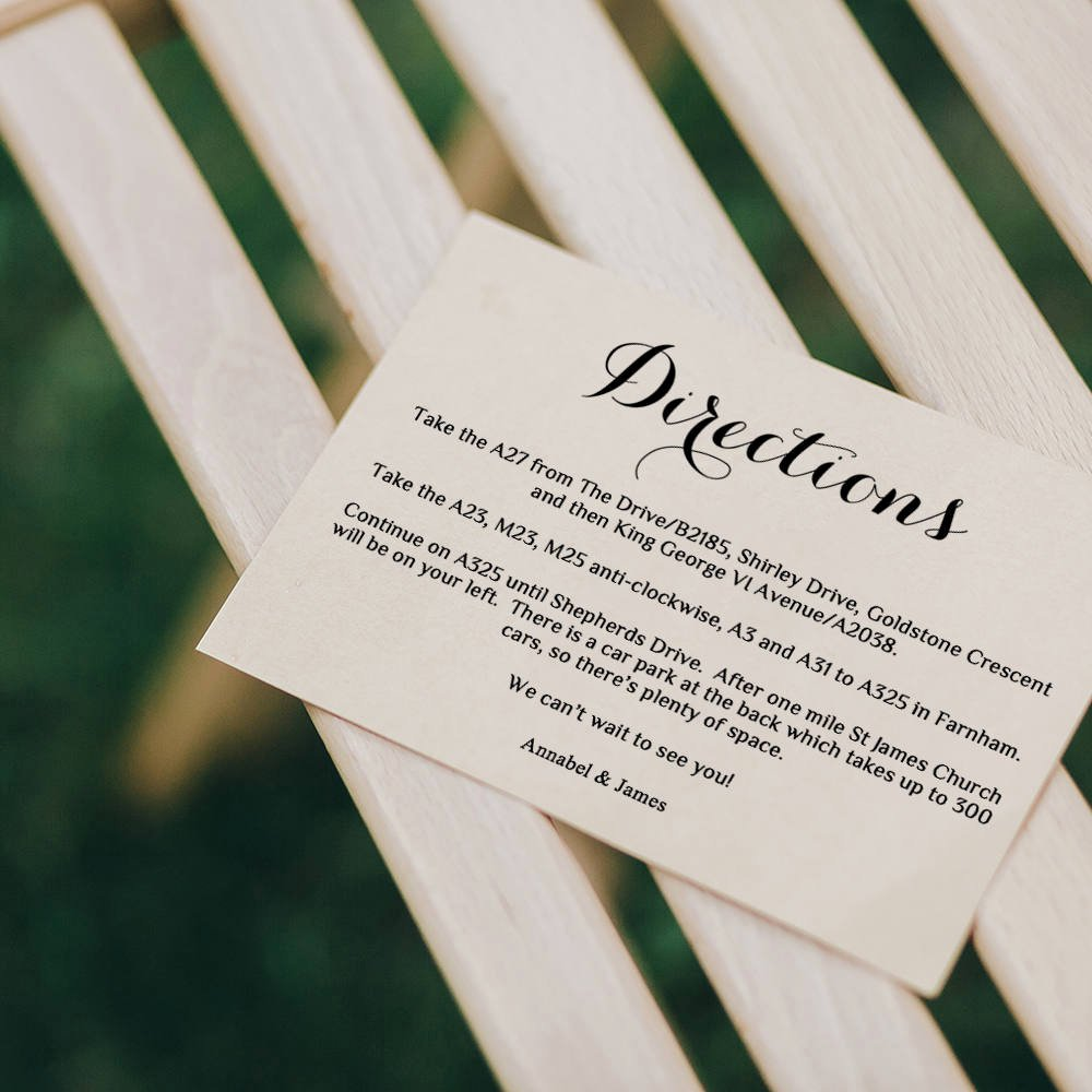 Wedding Direction Card Template Awesome Directions Card Printable Template Wedding Guest Enclosure
