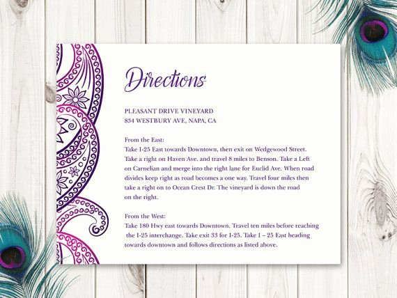 "Wedding Direction Card Template Beautiful 28 Best Indian Wedding Invitation Templates ""paisley"