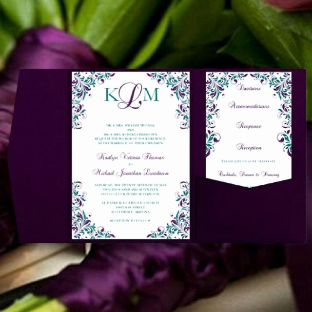 "Wedding Direction Card Template Beautiful Peacock Wedding Invitations ""kaitlyn"" Purple & Teal Pocket"