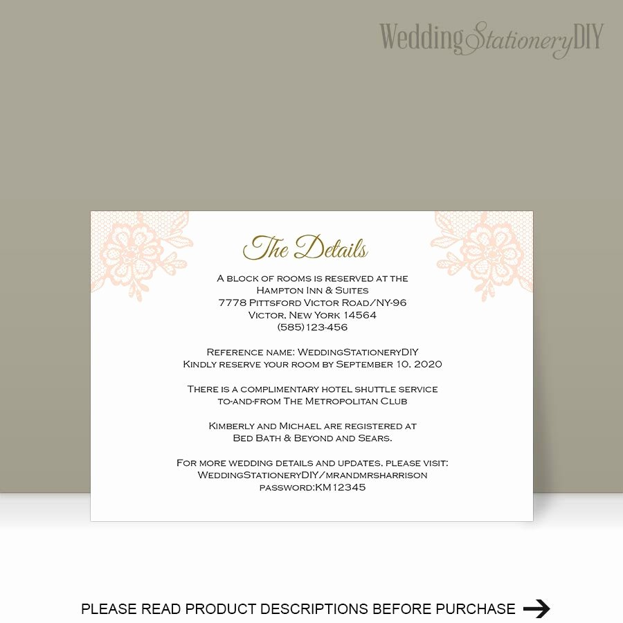 Wedding Direction Card Template Beautiful Printable Insert Cards Wedding Information Card Reception