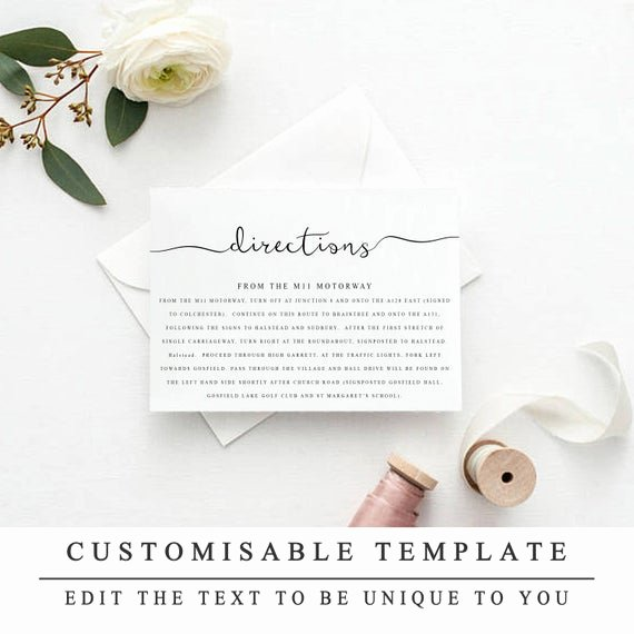 Wedding Direction Card Template Beautiful Printable Wedding Directions Template Wedding Insert Cards