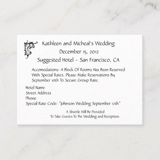 Wedding Direction Card Template Elegant Customize Wedding Hotel Ac Modation Insert Card