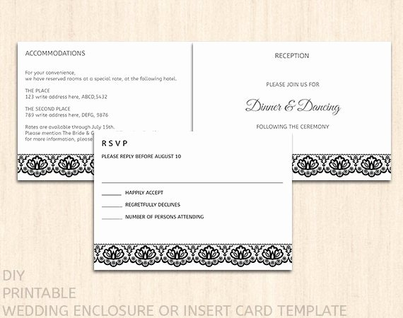 Wedding Direction Card Template Elegant Printable Wedding Enclosure Card Template by