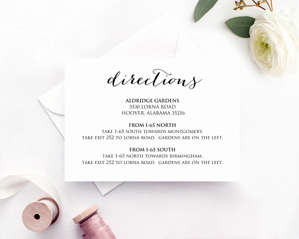 Wedding Direction Card Template Fresh Directions Card Insert Wedding Direction Details Card